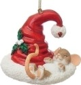 Charming Tails 130452 Mouse Sleeping w Santa Hat Ornament