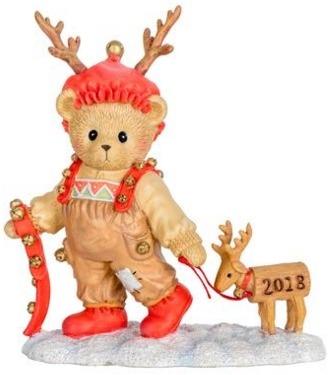 Cherished Teddies 132075 2018 Dated Annual Bear w Deer Figurine