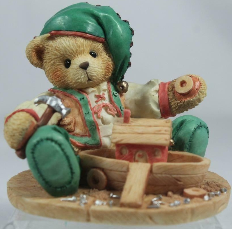 Cherished Teddies 141143 Yule Building A Sturdy Friendship Elf W Boat