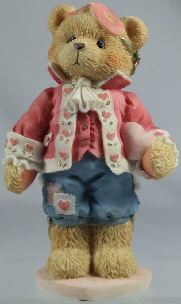 Cherished Teddies 156450 Darrel Love Unveils A Happy Heart Boy In Mask