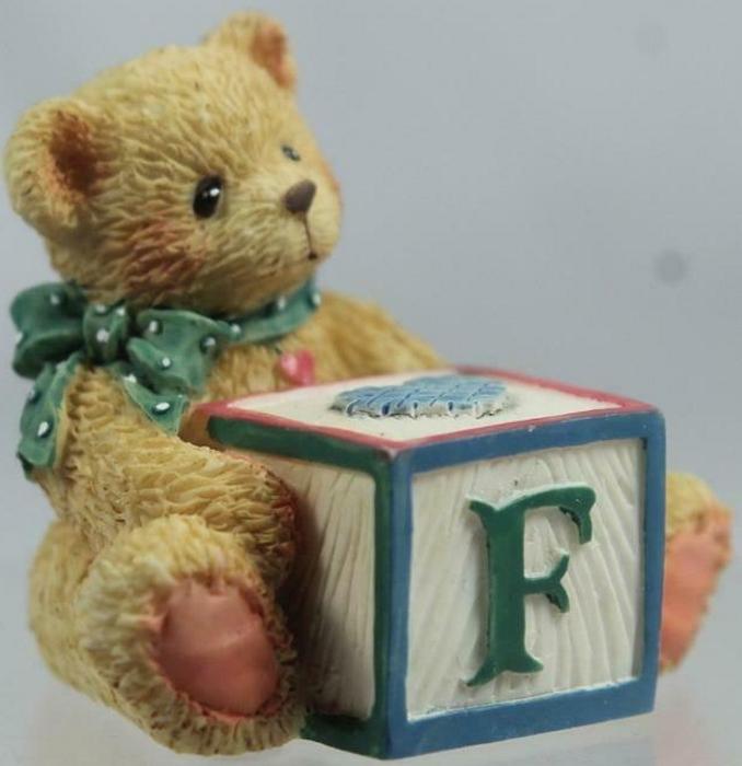 Cherished Teddies 158488F Alphabet Block Bear F