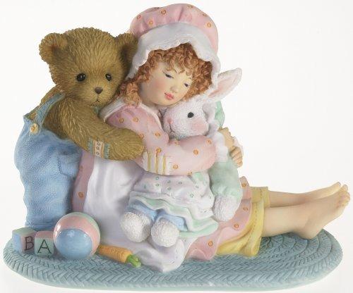 Cherished Teddies 4016844 Girl & Bear Hugging Bunny