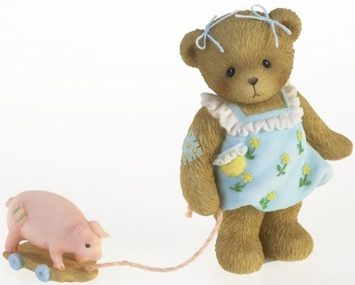 Cherished Teddies 4016850 Bear With Pig Pull Toy Figurine