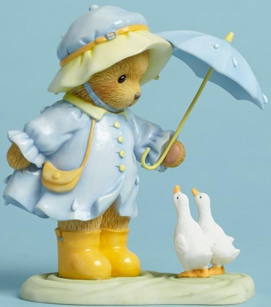 Cherished Teddies 4045934 Bear Umbrella Ducks Figurine