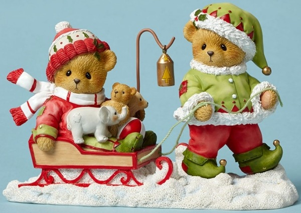 Cherished Teddies 4047379 Bear Elf Pulling Sled Figurine