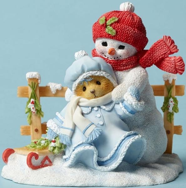 Cherished Teddies 4047390 Bear Sled Snowman Figurine