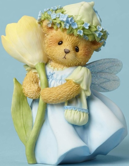 Cherished Teddies 4051044 Bear W Crocus Flower Figurine