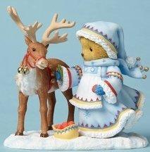 Cherished Teddies 4053454 Girl W reindeer Lapl Figurine