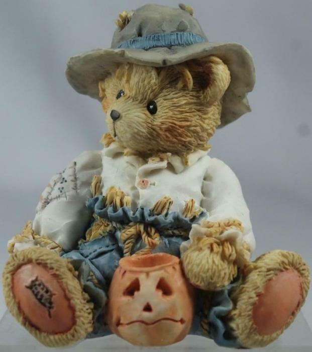 Cherished Teddies 912786 Gary Scarecrow With Jack O Lantern