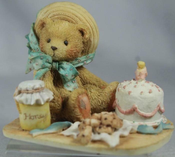 Cherished Teddies 950459 Anna Hooray For You with Honey Pot Figurine