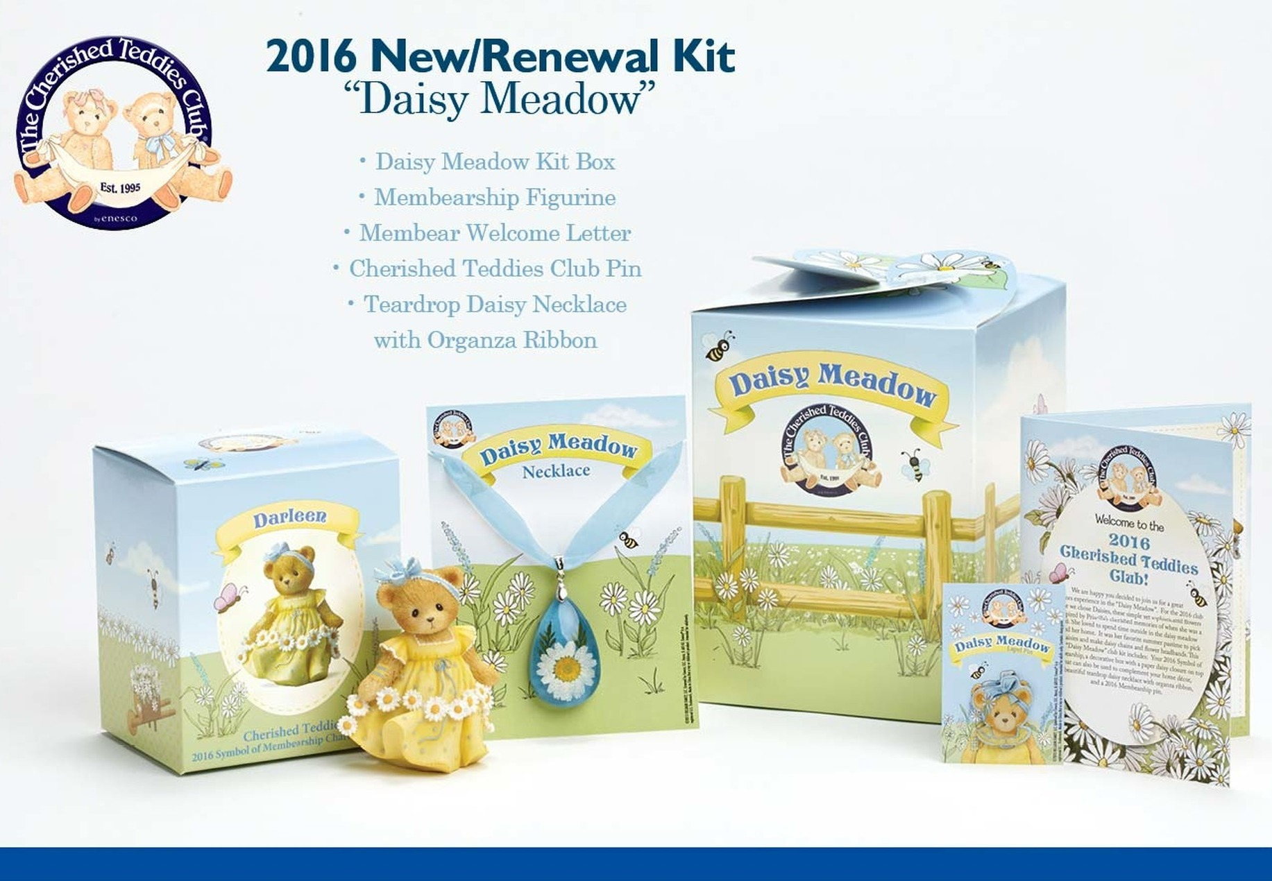 Cherished Teddies CTNR16 Club Kit Set of 3 RNWL 2016 C