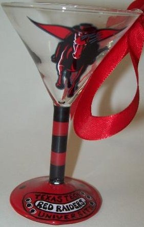 Collegiate Gifts 80157 Set of 2 Texas Tech Red Raiders Martini Glass Ornaments
