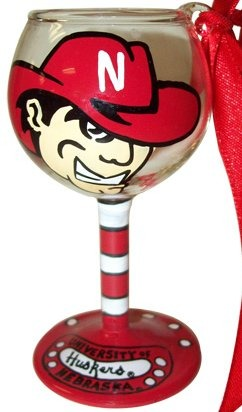 Collegiate Gifts 80175 Set of 6 Nebraska Cornhuskers Christmas Wine Glass Ornaments