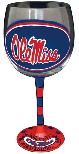 Collegiate Gifts 80192 Set of 6 Ole Miss Rebels Wine Glasses