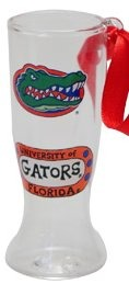 Collegiate Gifts 80276 Set of 6 Florida Gators Gator Head Christmas Pilsner Glass Ornaments