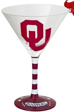 Collegiate Gifts 80287 Set of 6 Oklahoma Sooners Christmas Martini Glass Ornaments