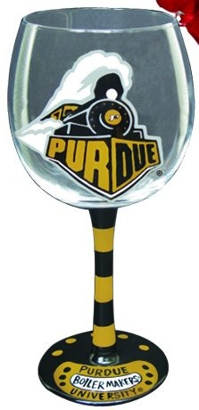 Collegiate Gifts 80635 Set of 6 Purdue Boilermakers Christmas Wine Glass Ornaments