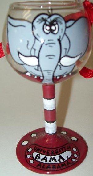 Collegiate Gifts 80905 Set of 2 Alabama Crimson Tide Wine Glass Ornaments