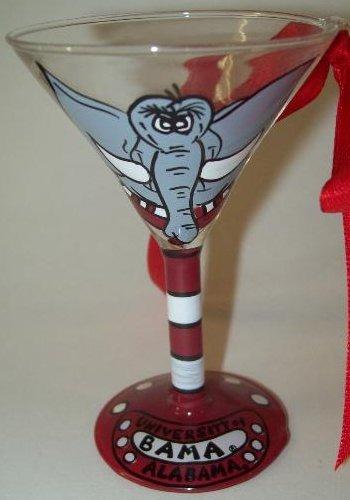 Collegiate Gifts 80907 Set of 2 Alabama Crimson Tide Martini Glass Ornaments