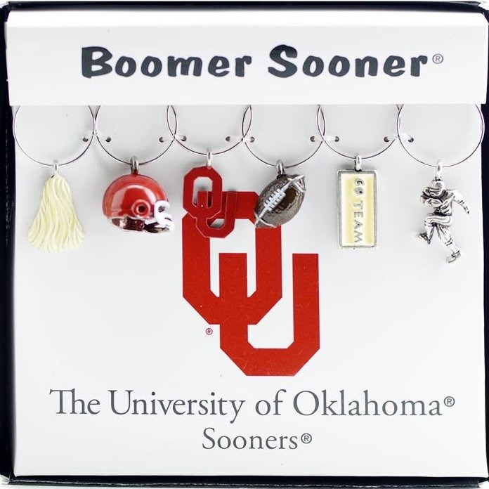 Collegiate Gifts 81281 Set of 2 Oklahoma Sooners Painted Glassware Charms