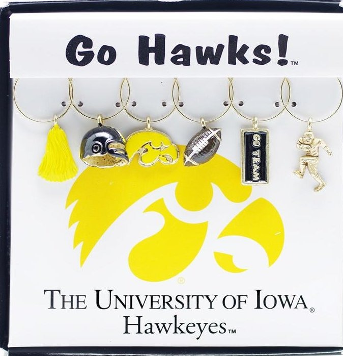 Collegiate Gifts 81361 Set of 2 Iowa Hawkeyes Painted Glassware Charms