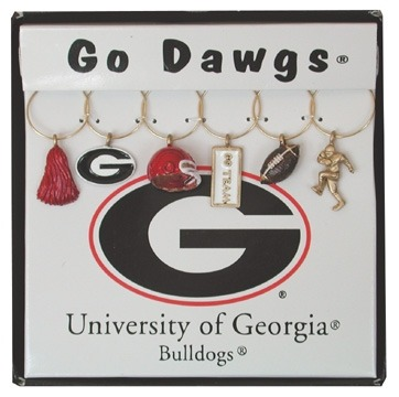 Collegiate Gifts 81501 Set of 2 UGA Bulldogs Painted Glassware Charms
