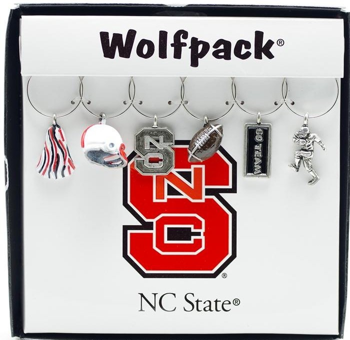 Collegiate Gifts 81531 Set of 2 NC State Wolfpack Painted Glassware Charms
