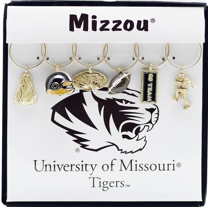 Collegiate Gifts 81721 Set of 2 Missouri Tigers Painted Glassware Charms