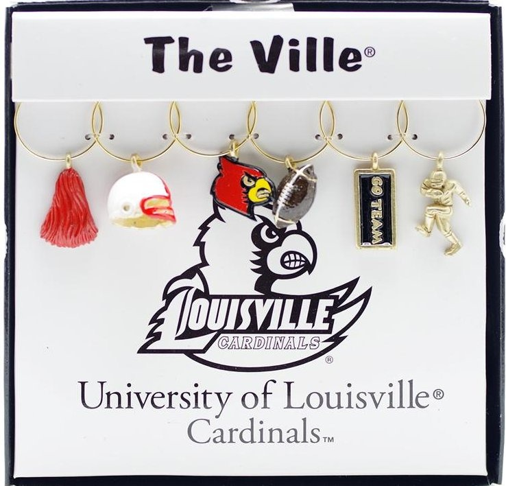 Collegiate Gifts 81921 Set of 2 Louisville Cardinals Painted Glassware Charms