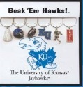 Collegiate Gifts 81161 Set of 2 Kansas Jayhawks Painted Glassware Charms