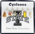 Collegiate Gifts 81751 Set of 2 Iowa State Cyclones Painted Glassware Charms