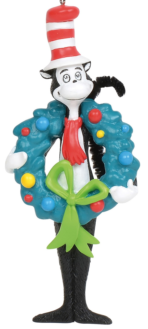 Dr Seuss by Department 56 6011077 Cat in The Hat with Wreath Ornament