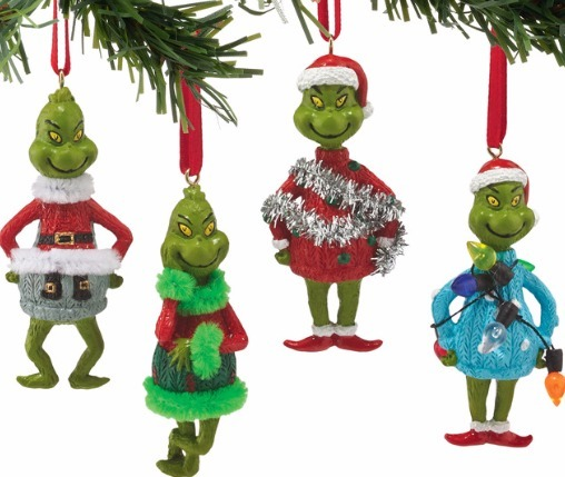 Grinch by Department 56 4052908 Mini Ornaments 4 Asst