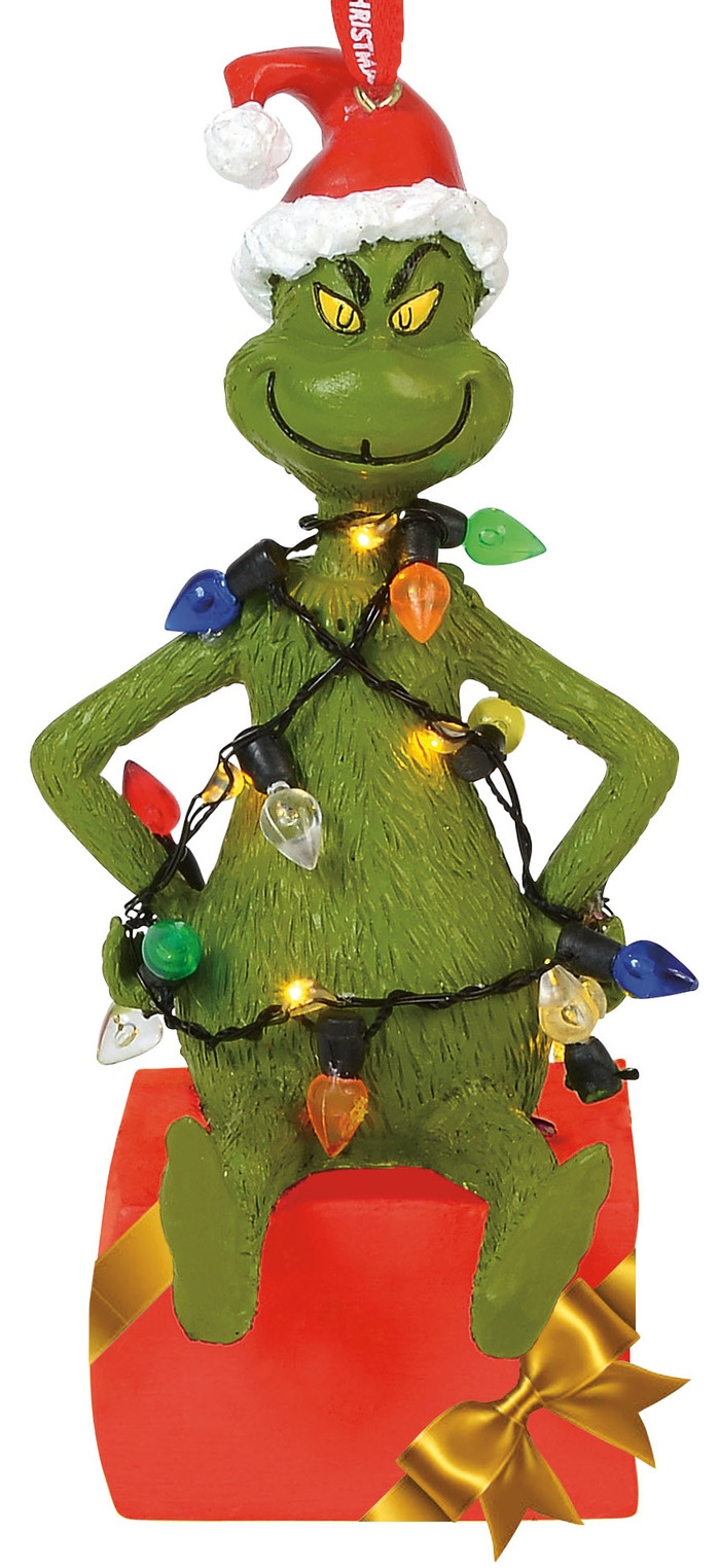 Grinch by Department 56 6000308 Grinch wrapped in Lights Lit Ornament