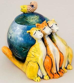 DaNisha Sculpture M002 Something Fishy Cat with Lid