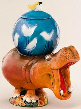 DaNisha Sculpture M011 Bertha Hippo with Lid
