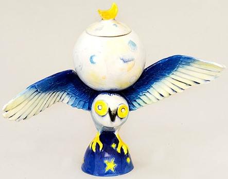 DaNisha Sculpture M023 Hoot Owl with Lid