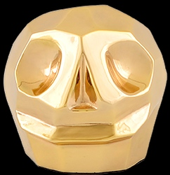 D'Argenta Studio Resin Art RV31Gold Tzompantli 2 - Skull - 24K Gold Plated