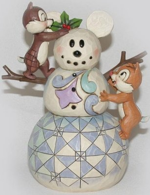 Jim Shore Disney 4016569 Snowman with Chip and Dale