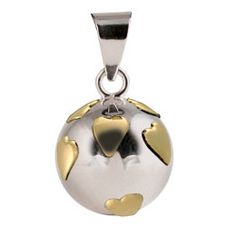 Chiming Spheres 20HGTH Brass Hearts Pendant