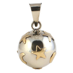 Chiming Spheres 20MSGTH Brass Moon and Stars Pendant