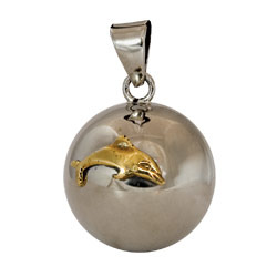 Chiming Spheres 25DLGTH Large Pendant With Brass Dolphins