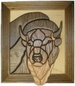 Intarsia 237F Bison Framed Intarsia Plaque