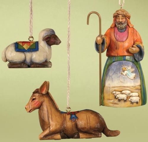 Jim Shore 118108 Shepherd and 2 Animals Ornament