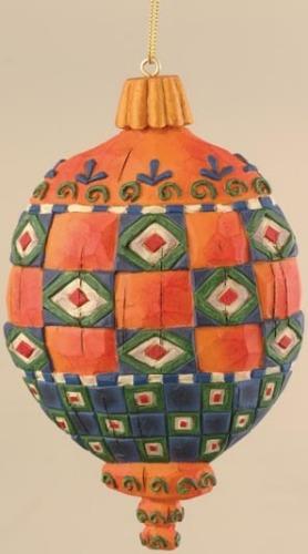 Jim Shore 118704 Red & Orange Squares Debossed Ornament