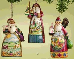 Jim Shore 4005787 Santa Scene Ornament set of 3