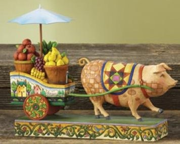 Jim Shore 4008180 This Little Piggy Went To Market Figurine