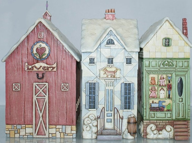 Jim Shore 4009401 Christmas Village set of 3 Figurine
