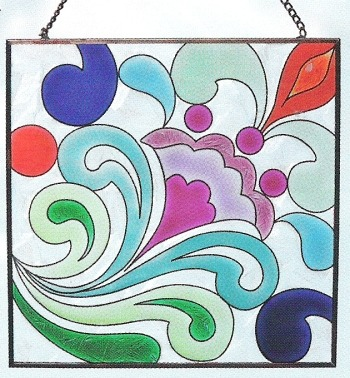 Jim Shore 4012499 Tulip & Swirl Square Suncatcher