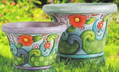 Jim Shore 4012621 Flower & Swirl Pattern Planter